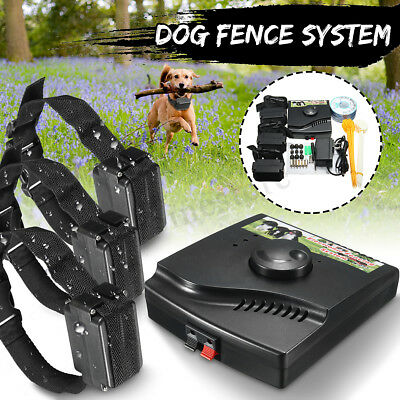 Waterproof Electric Dog Fence 3 Shock Collars System Hidden In-Ground Pet