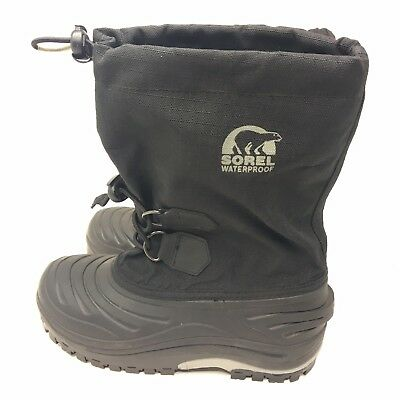 93a708ab950b Sorel Super Trooper Youth 2 Kids Boys Girls Black No Liner Snow Boots Winter