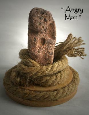 "FREAKY FACE IN ROCK- ""ANGRY MAN""-Unique Natural Curiosity Artifact, Pagan /Wicca"