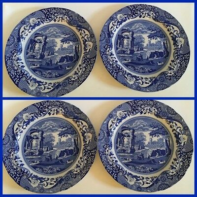 Spode Blue Italian Camilla Dinner Plates - Set Of 4 - New With Tags!