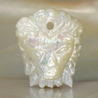 Mother-of-Pearl Shell Lion Head Pendant Focal Bead Carving 2.72 g