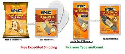 Hot Hands Warmers - Hand Warmers, Toe, Feet, Insols Long Lasting - Pick Type NEW