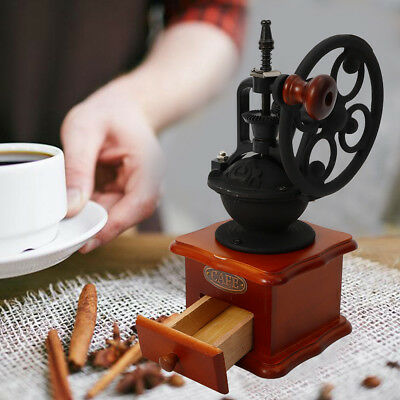Wooden Vintage Grinder Manual Coffee Bean Grinding Machine Hand Burr Mill HOT