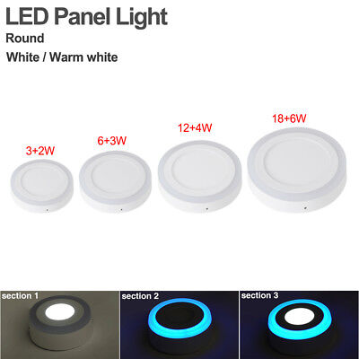 3/6/12/18W Dual Color Round Ceiling Surface LED Panel Lights Office Boardroom