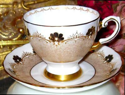 Tuscan Footed Tea Cup & Saucer Floral & Crown Border Gold Teacup pattern D1848