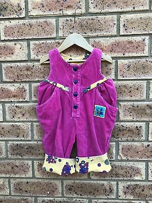 Retro Hot Pink Girls Corduroy  Overalls Dungarees Size 0 Vintage 80's Jumpsuit