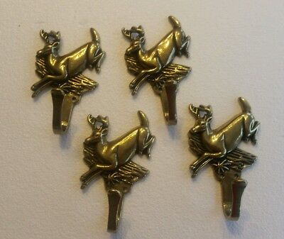 4 Vintage Solid Brass Deer Buck With Antlers Hooks Coat Hooks With Screws (2Eb)