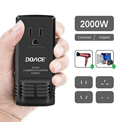 DOACE Upgraded 2000W Travel Voltage Converter for Hair Dryer