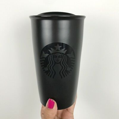 Starbucks Matte Black Ceramic Tumbler Double Walled Limited Edition 12oz 355ml
