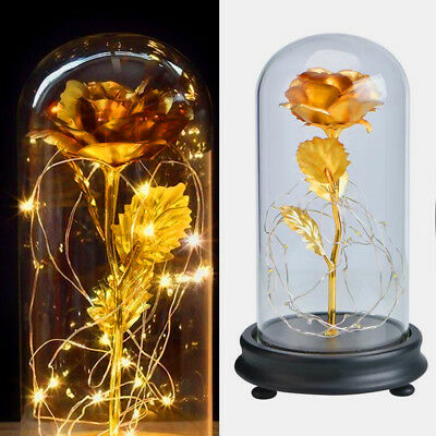 24k Gold Plated Forever Rose Beauty And The Beast Dip Led Light Glass Home Gift