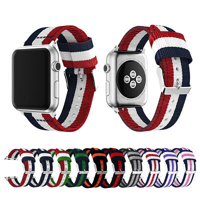 Woven Nylon Stripe iWatch Band Strap fr Apple Watch Series 4 3 2 1 38/40/42/44mm