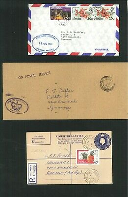 Antigua & Barbuda - 12 items commercial covers, inc registered & airmail.