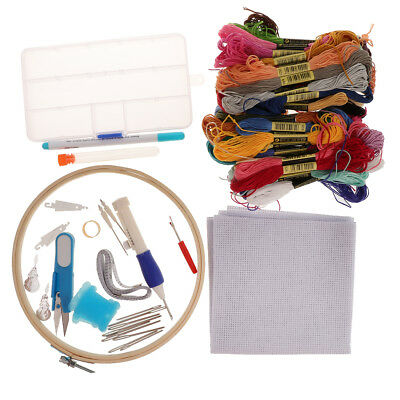 DIY Cross Stitch Embroidery Starter Kit Thread Hoop Floss Hand Embroidery