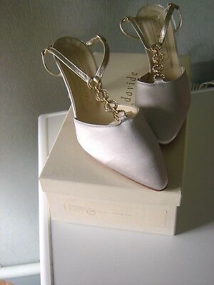 NEW Anello & Davide handmade wedding bridal evening shoes ivory satin Tamsin 5.5
