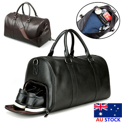 Men PU Leather Duffel Bag Travel Outdoor Gym Weekender Overnight Luggage Handbag