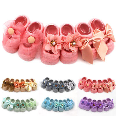 Cute Baby Socks Bow Cotton Floral Soft Solid Girls Skidproof Lace Newborn Style