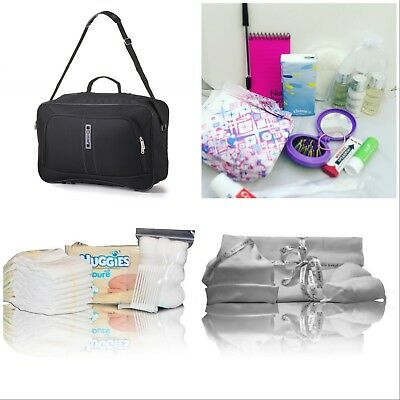 Black pre-packed hospital/maternity/changing nappy bag mum &newborn baby shower