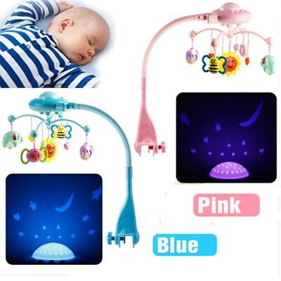 Baby Cute Musical Crib Bed Cot Mobile Stars Dream Light Flash Nusery Lullaby Toy