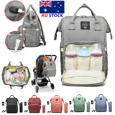 LEQUEEN USB Waterproof Mummy Baby Diaper Bag Maternity Nappy Travel Backpack AU