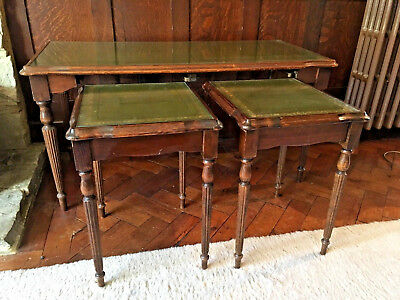 Antique/Vintage Nest of Tables With Glass And Green Leather Inlay