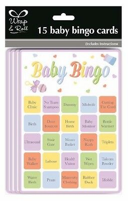 ** Baby Shower 15 Bingo Cards Fun Game Gender Reveal Party Boy Girl New **
