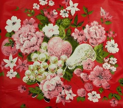 Vintage Red Vinyl Tablecloth Rectangle 52 x 88 Pink & White Flowers