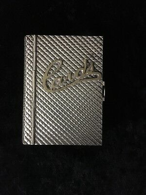Antique Silver Plated Card Case In Shape Of A Book