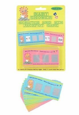 ** Baby Shower 12 Scratch & Win Jackpot Game Cards Gender Reveal Party