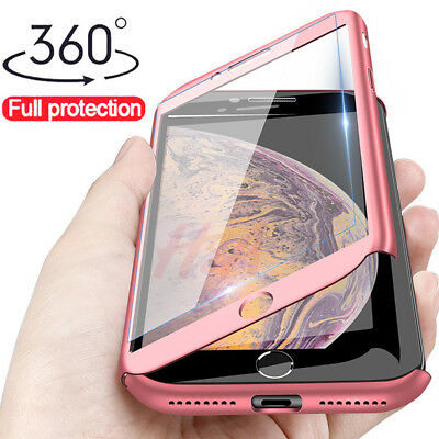 360 Full Protective Phone Case For iPhone Xs Max Cover Shell+Temper Glass Film