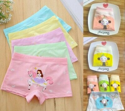 5 Pack Girls Boxer Shorts Briefs Pants Knickers Underwear Age3 4 5 6 7 8 9Years