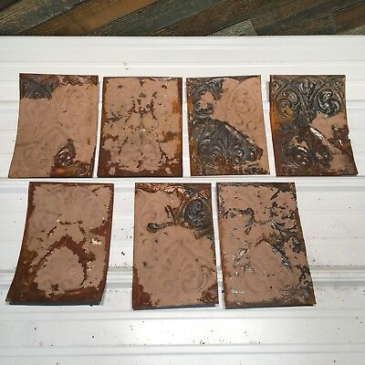 """7pc Lot of 10"""" by 6"""" Antique Ceiling Tin Vintage Reclaimed Salvage Art Craft"""