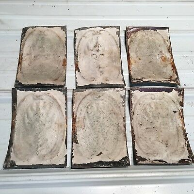 """6pc Lot of 8"""" by 6"""" Antique Ceiling Tin Vintage Reclaimed Salvage Art Craft"""