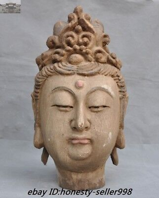 "16"" antique Chinese Buddhism Old wood Carved Guanyin Kwan-yin Buddha Head Statue"