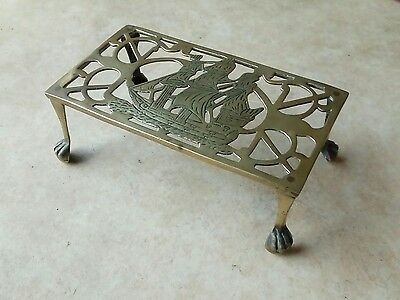 Antique Brass Trivet or Pot Stand with Galleon Ship Design