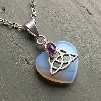 Opalite Heart & Amethyst Triquetra Celtic Knot Pendant Chakra Wicca Reiki Pagan