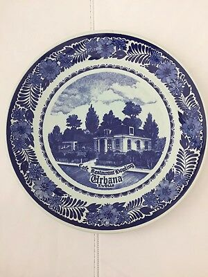 VINTAGE ORIGINAL 60's DELFT BLUE & WHITE WALL HANGING PLATE . VG Condition