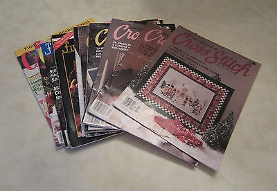Set of 10 Counted Cross Stitch Magazines, For the Love of, and Just Cross Stitch