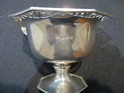 Solid Silver small comport dish hexagonal in shape Atkins Bros Sheffield