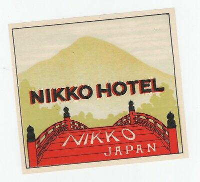 """1920's Nikko Hotel Japan Tokyo Luggage Label 4.75"""" x 5"""" Inches"""