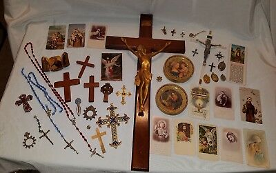 Mixed Lot of Antique & Vintage Religious Rosaries Charms Pendants etc