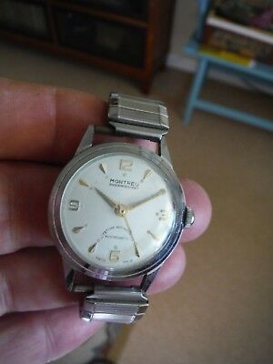 Vintage Montreu Stainless Steel Watch - 60+ Years Old - Swiss Made - Runs