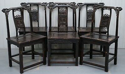 Set Of Six Barn Find Circa 1880 Japanese Throne Armchairs Original Paint Chinese