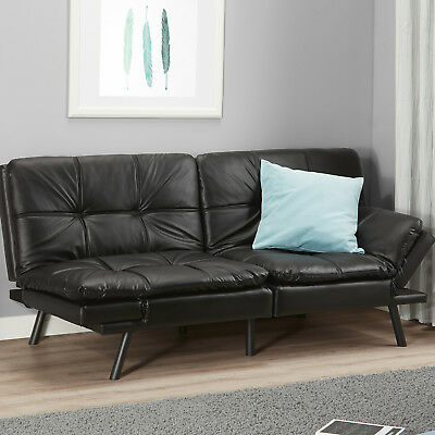 MEMORY FOAM FUTON Convertible Sofa Bed Couch Black Sleeper Lounge Living  Room