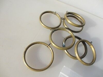 "Antique Brass Curtain Rings Victorian Holder Hangers Brackets x7   3"" width."