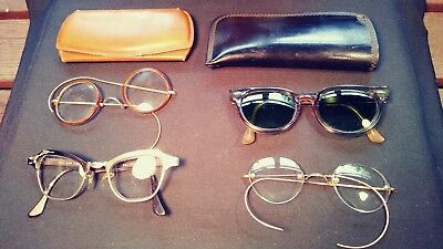 ce800c729b Antique eye glasses GOLD STEAMPUNK Cases OVAL GREEN TINTED Wire Rim Frame