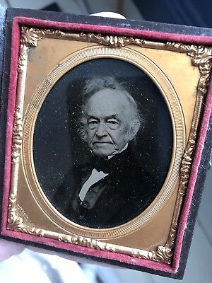 Antique Sixth Plate Ambrotype Photograph Cool Gentleman Character Signed Corner