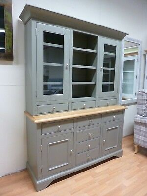 New Large Wide Chunky Grey & Oak Display Unit Dresser Cabinet *Furniture Store*