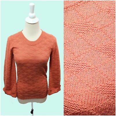 Women's Vintage 60s 70s Bright Coral Salmon Eccobay Harlequin Knit Sweater NOS