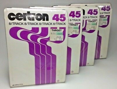 Lot of 4 NEW Certron Blank 8-Track Tape Cartridges Recordable 45 Mins SEALED