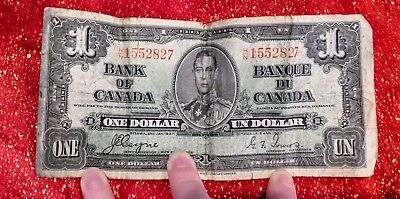 1937 Bank Of Canada One 1 Un Dollar Bank Note Hn 1552827